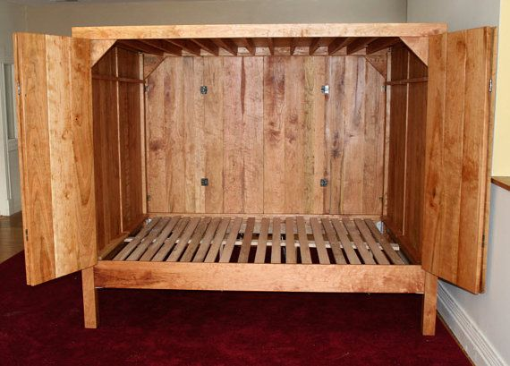 Ccrnv90 Enclosed Bed With Doors On Both Sides Natural Color Etsy