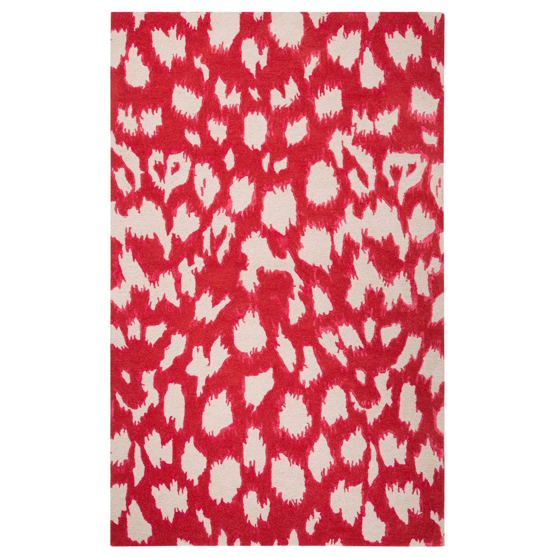 Kate Spade New York By Jaipur Gramercy Leopard Ikat Maraschino Hand Tufted Wool Silk Rug Animal Print Decor Hand Tufted Rugs