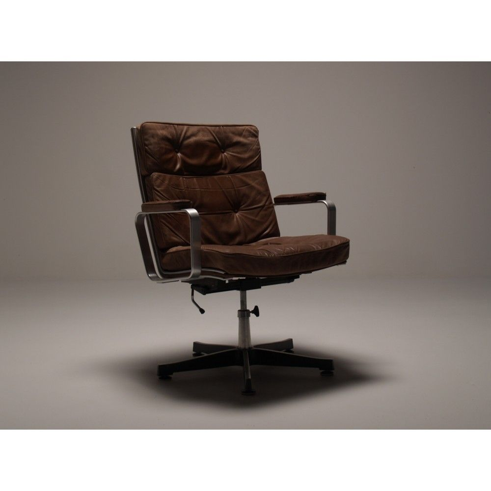 Karl Erik Ekselius Office Chair Scandinavian Vintage Swivel In Brilliantly Worn And Retro