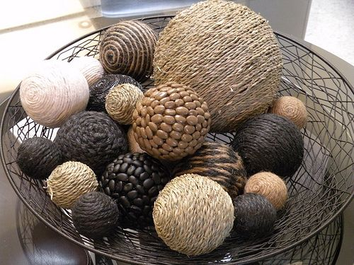Cottage Decor Free Shipping Home Brown and Gray Decorative Spheres