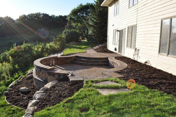 circular sunken patio on a hill | Backyard landscaping ... on My Garden Outdoor Living id=64034
