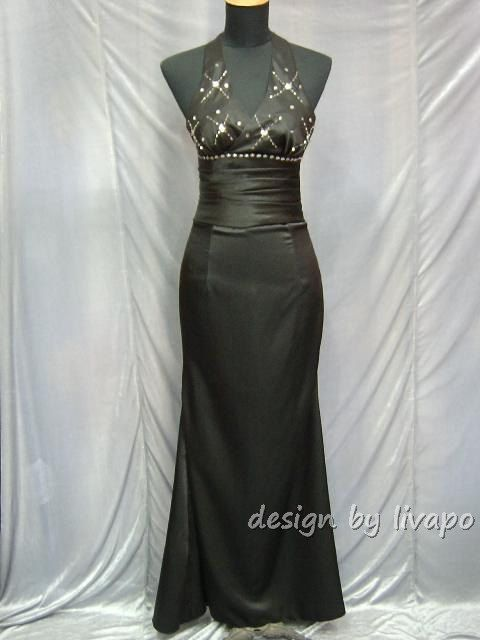 Sexy Black Halter Sheath Formal Evening Dress Prom Gown - F09320. $70.00, via Etsy.
