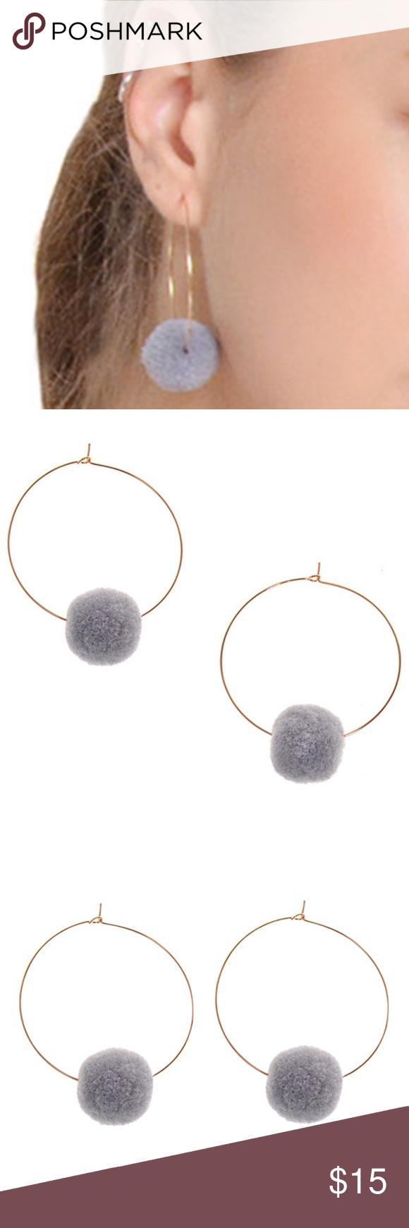 Fuzzy Ball Round Hoop Earrings Gray Boutique Hoop