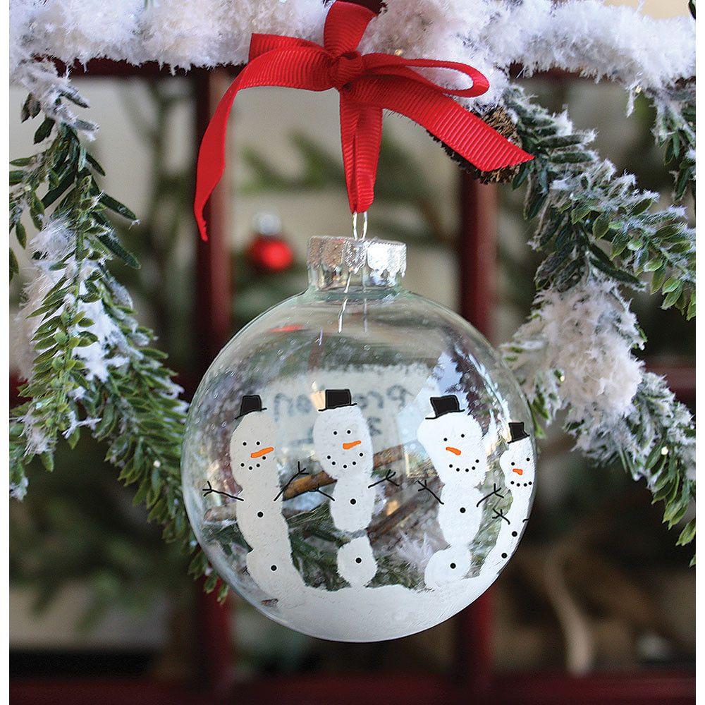 Snowglobe Handprint Ornament Kit Handprint Ornaments Snowman Handprint Ornament Ornament Kit