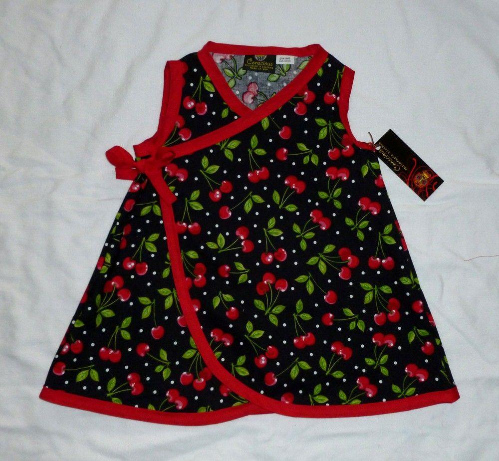New Punk Red Cherry Black Rockabilly Retro toddler baby girl dress ...