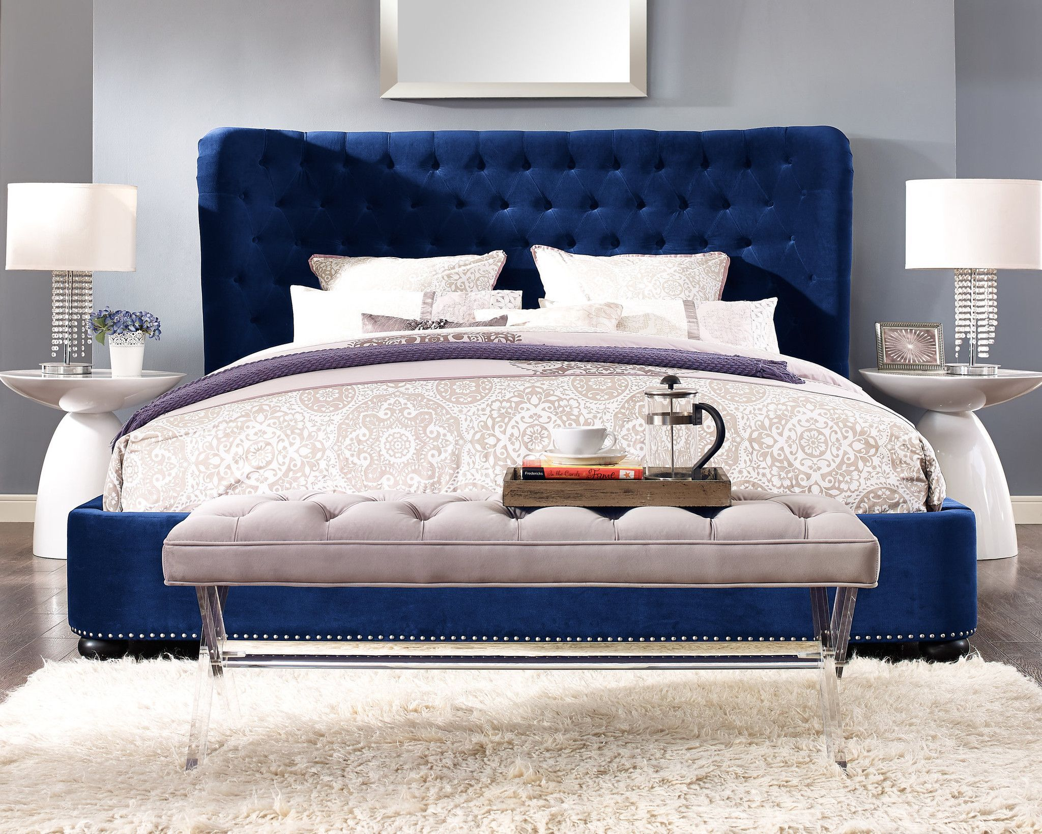 Finley Blue Velvet Bed in King | Products | Pinterest