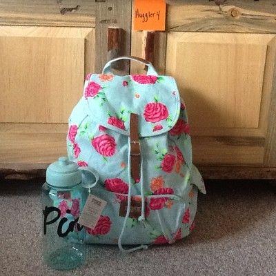 e13cf56991016 Victoria's Secret vs Pink Blue Rose Floral Backpack Water Bottle Lot ...