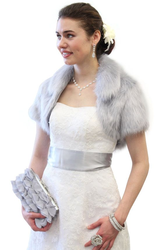 Grey Faux Fox Fur Bridal Bolero Crop Jacket By Tiondesign On Etsy 49 99 Aha Now This Is The Perfect Color A Little More Expensive Though