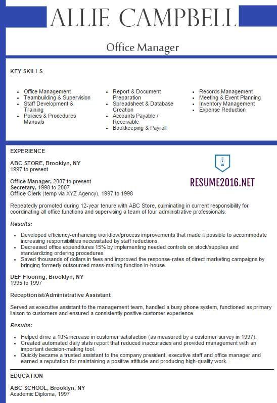 Best Sample Resume 2016 Sample Resumes Resume Template Free Job Resume Template Office Manager Resume
