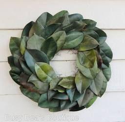 Everlasting Green Magnolia Leaf Wreath-Custom Order -Year Round Wreath, Fall Wreath, Centerpiece, Candle Ring, Front Door Wreath