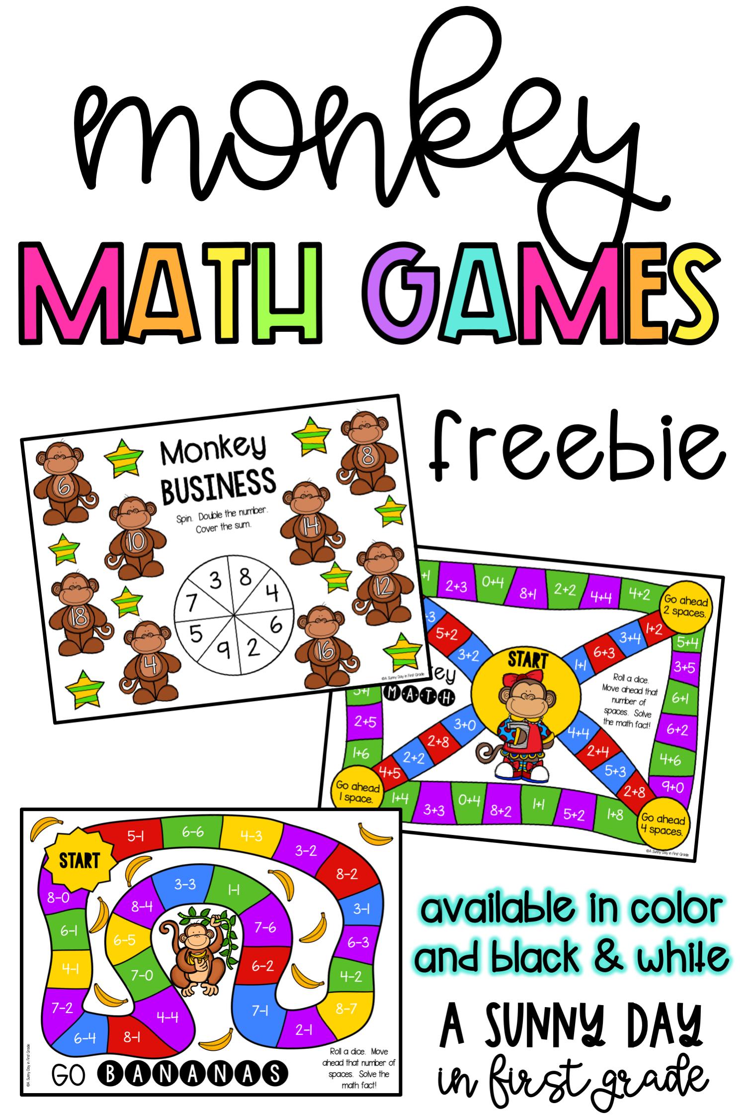 Monkeying Around Math Game Freebie in 2020 Math games