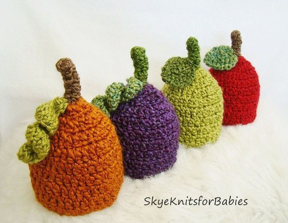 Little Fruit Hat PICK YOUR FRUIT Photography by SkyeKnitsforBabies, $15.50