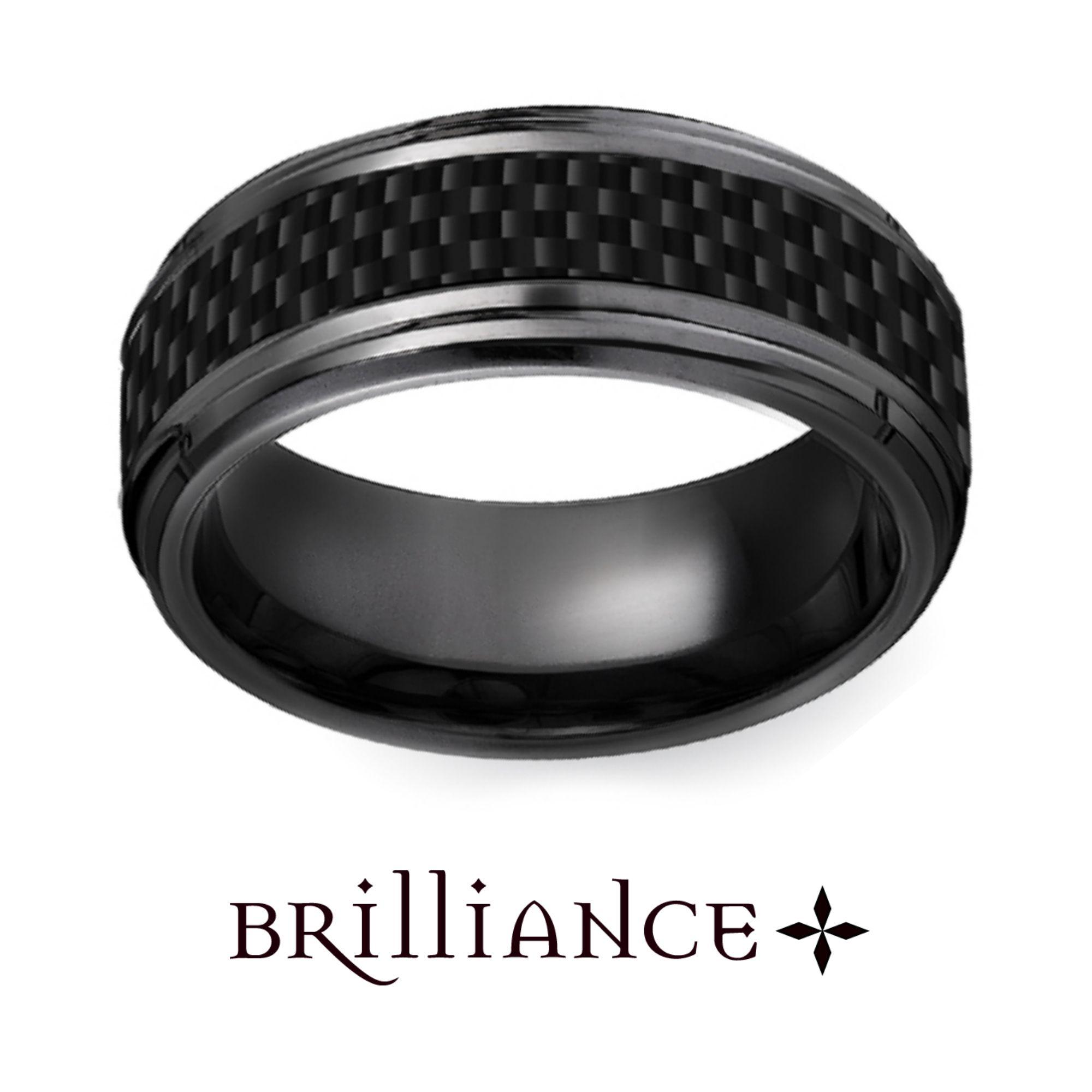 Beveled Carbon Fiber Men's Wedding Ring In Black Titanium