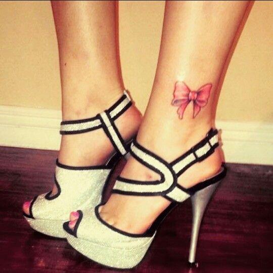 Best friend tattoos. Bow tattoo. Ankle tattoo