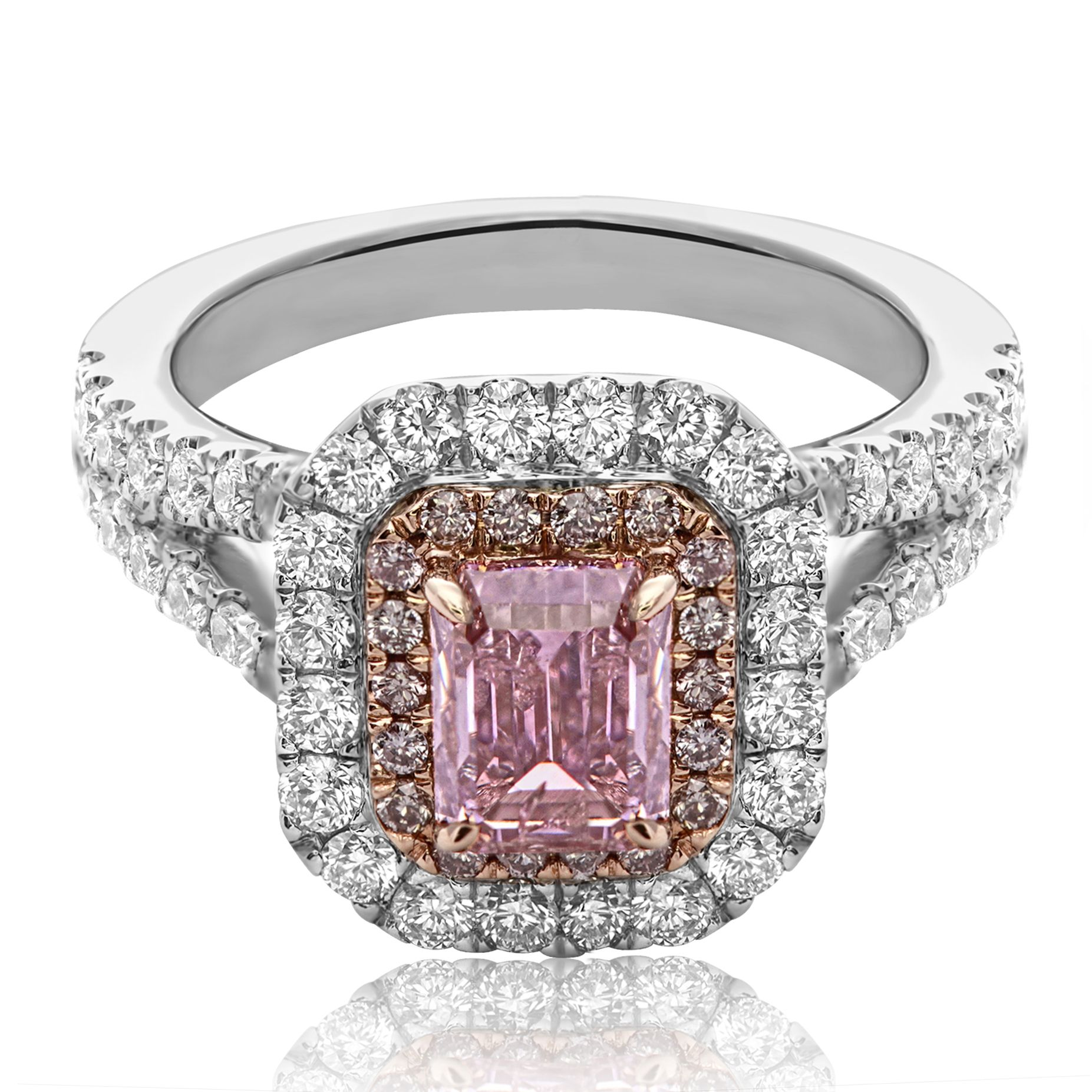 Two tone emerald cut Pink diamond engagement ring surrounded by a