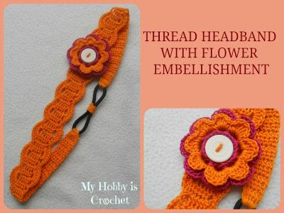 Thread Headband - Free Crochet Pattern with Tutorial | Diademas de ...