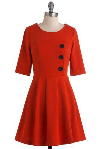 Either Orange Dress in Tangerine - Mid-length, Orange, Solid, Buttons, Work, 3/4 Sleeve, Fit & Flare, Vintage Inspired, Cotton, Fall, Winter...
