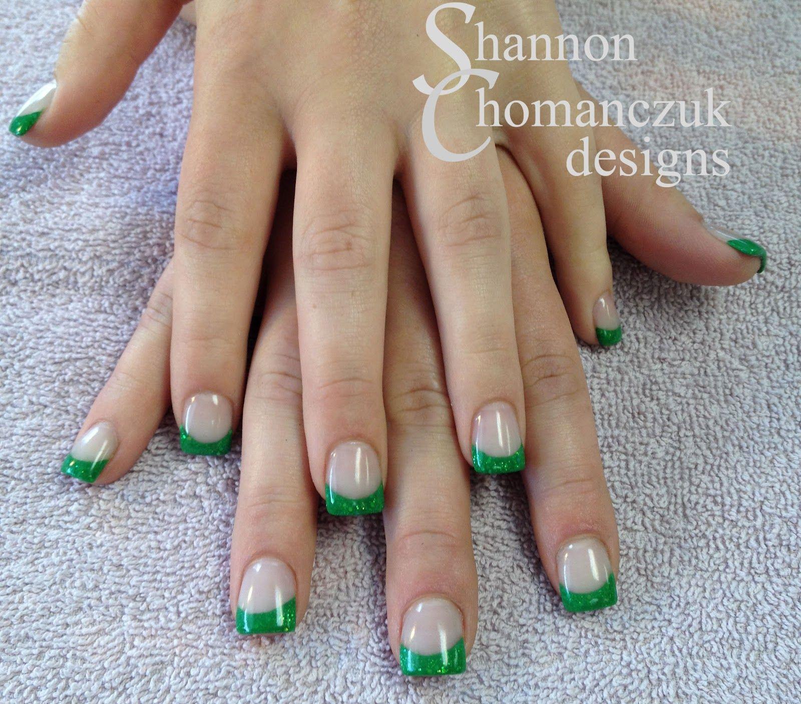 Custom mixed green glitter acrylic french nails by Shannon ...
