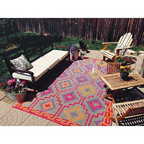 Amazon Com Fab Habitat Lhasa Indoor X2f Outdoor Rug Orange Amp Violet 5 39 X 8 39 Doormats Patio Fab Habitat Outdoor Rugs Outdoor Plastic Rug