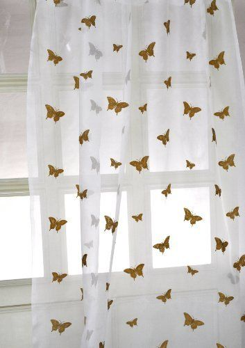 100 Silk Sheer Curtains With Butterfly Embroidery By D 78 00