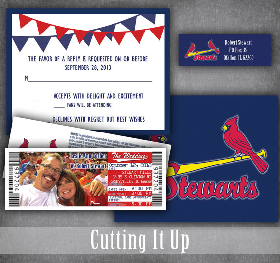 Baseball Wedding Invitation Ticket And Rsvp Set Sports Theme Tickets With Rsvp Cards Cardinals Rangers Printed Or Pdf Printable Template Baseball Wedding Invitation Ticket Wedding Invitations Baseball Wedding