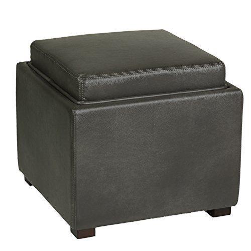 Cortesi Home Mavi Grey Top Tray Storage Cube Ottoman In Bonded