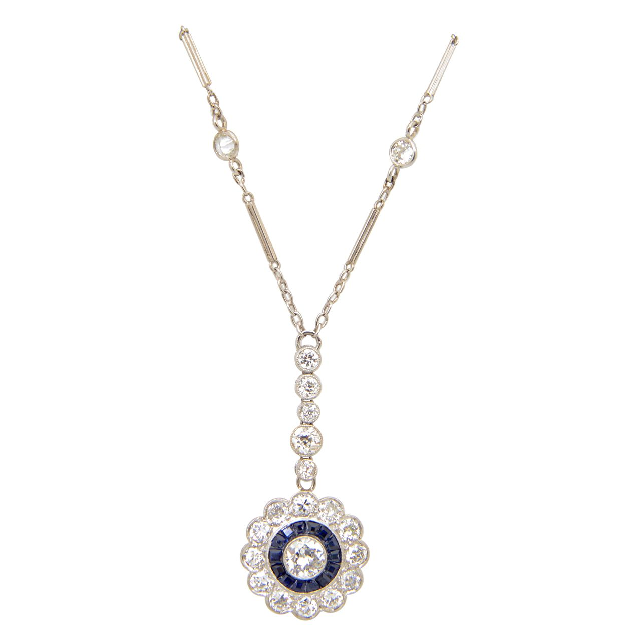 Art deco floral sapphire and diamond platinum drop pendant art deco floral sapphire and diamond platinum drop pendant necklace aloadofball Choice Image