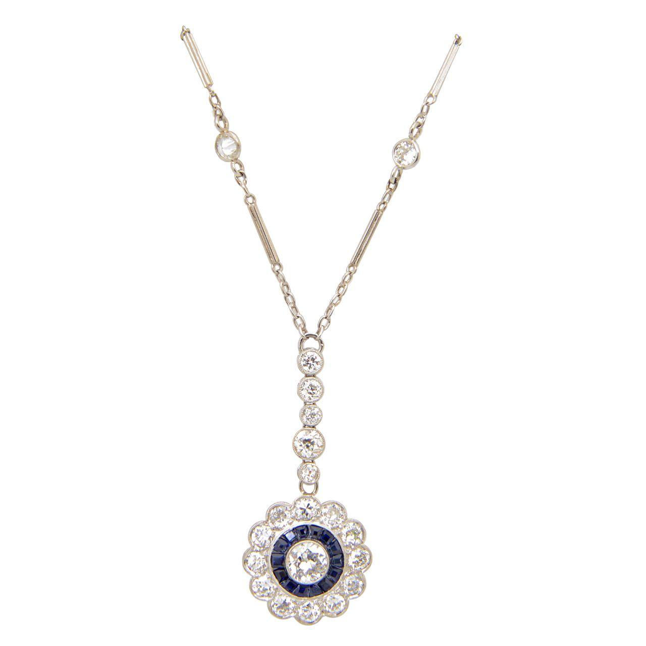 Art deco floral sapphire and diamond platinum drop pendant necklace art deco floral sapphire and diamond platinum drop pendant necklace aloadofball Choice Image