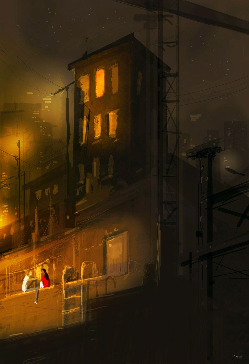 Awake. What are you doing here? I can't sleep. Me neither. ..... ... ..I'm Glad you're here. ...me too. #pascalcampionart