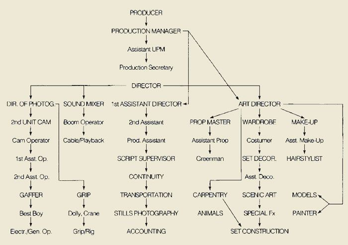 Organizational Chart For Preproduction  Filmmaking