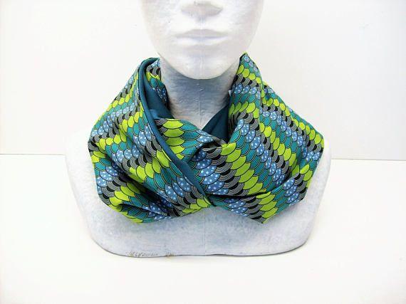 col snood bleu vert motifs wax et uni echarpe infinie femme ... 8a165a857d3