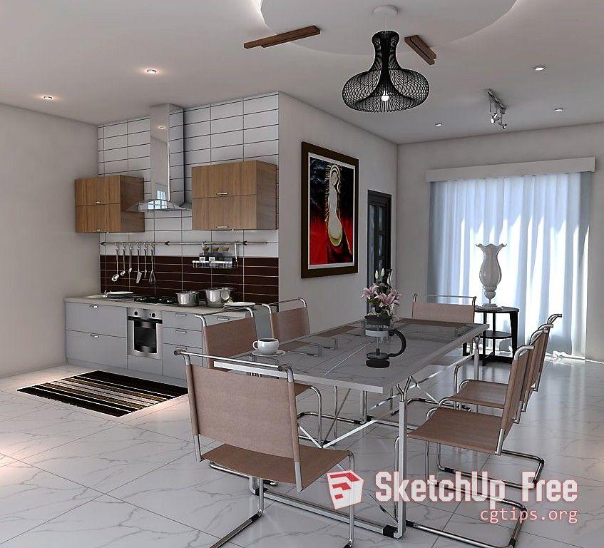 1780 Kitchen Diningroom Scene Sketchup Model Free