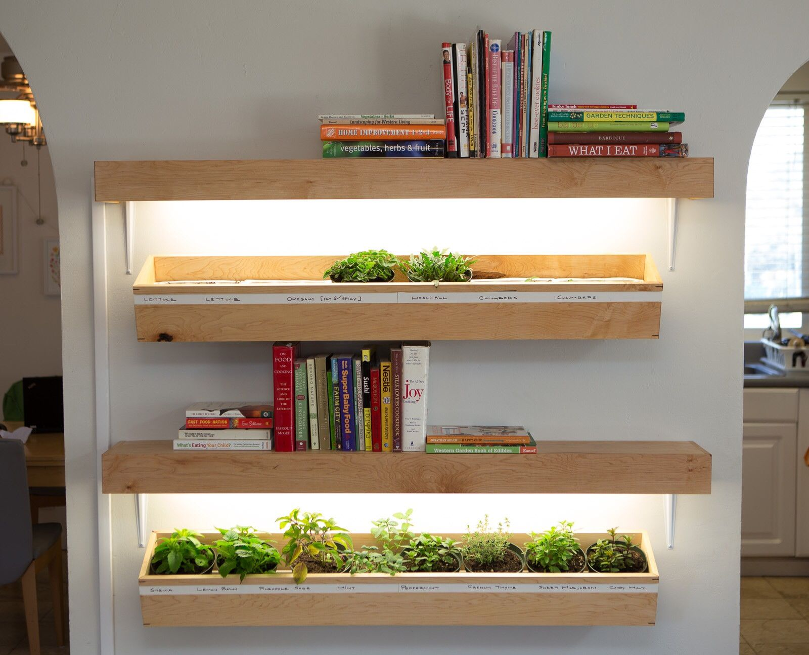 Made These Simple Shelves Out Of Half Inch Maple (the Same Stuff The  Planter Boxes Are Made Out Of). I Mounted A 2 Bulb Fluorescent Fixture  Under Each And ...
