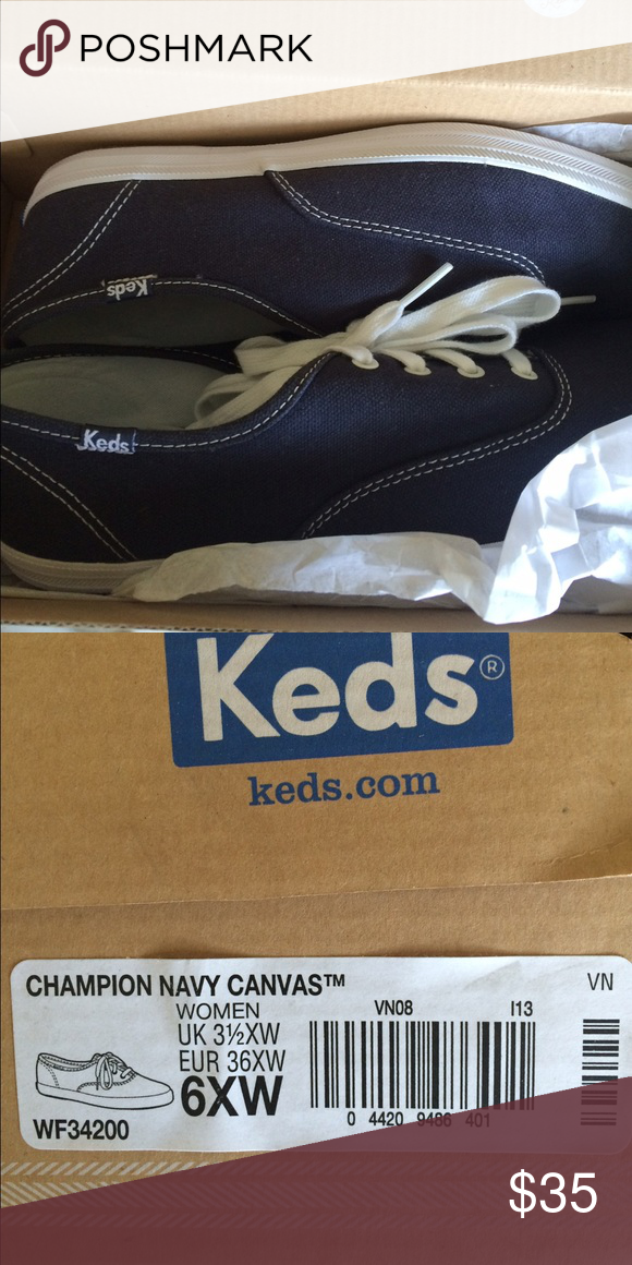 ed89b6c586a Keds champion Navy canvas shoe 6 extra wide So I m a knucklehead and didn t  get to return these in time. So my loss is your gain.
