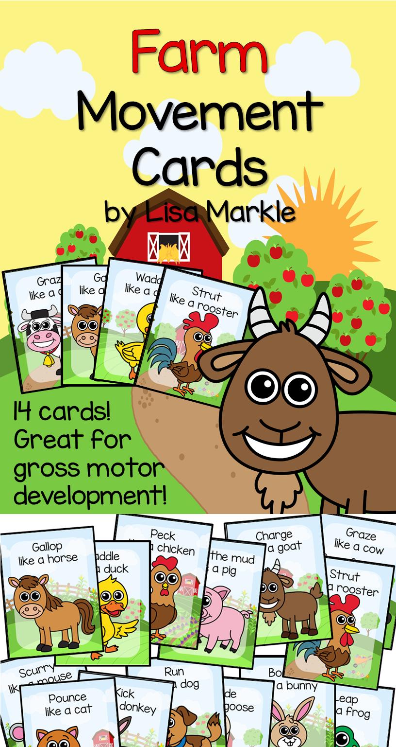 Farm Animal Movement Cards for Preschool and Brain Break | Gross ...