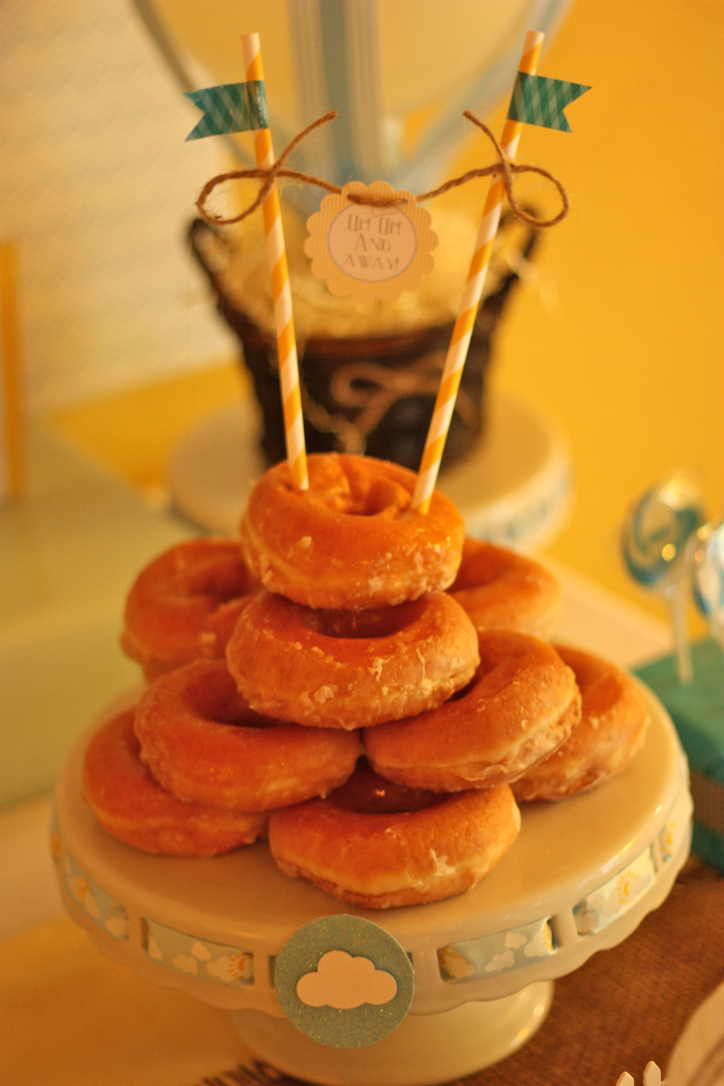 Decorated donut tower. Perfect for brunch or morning party!   Poppy Event Design