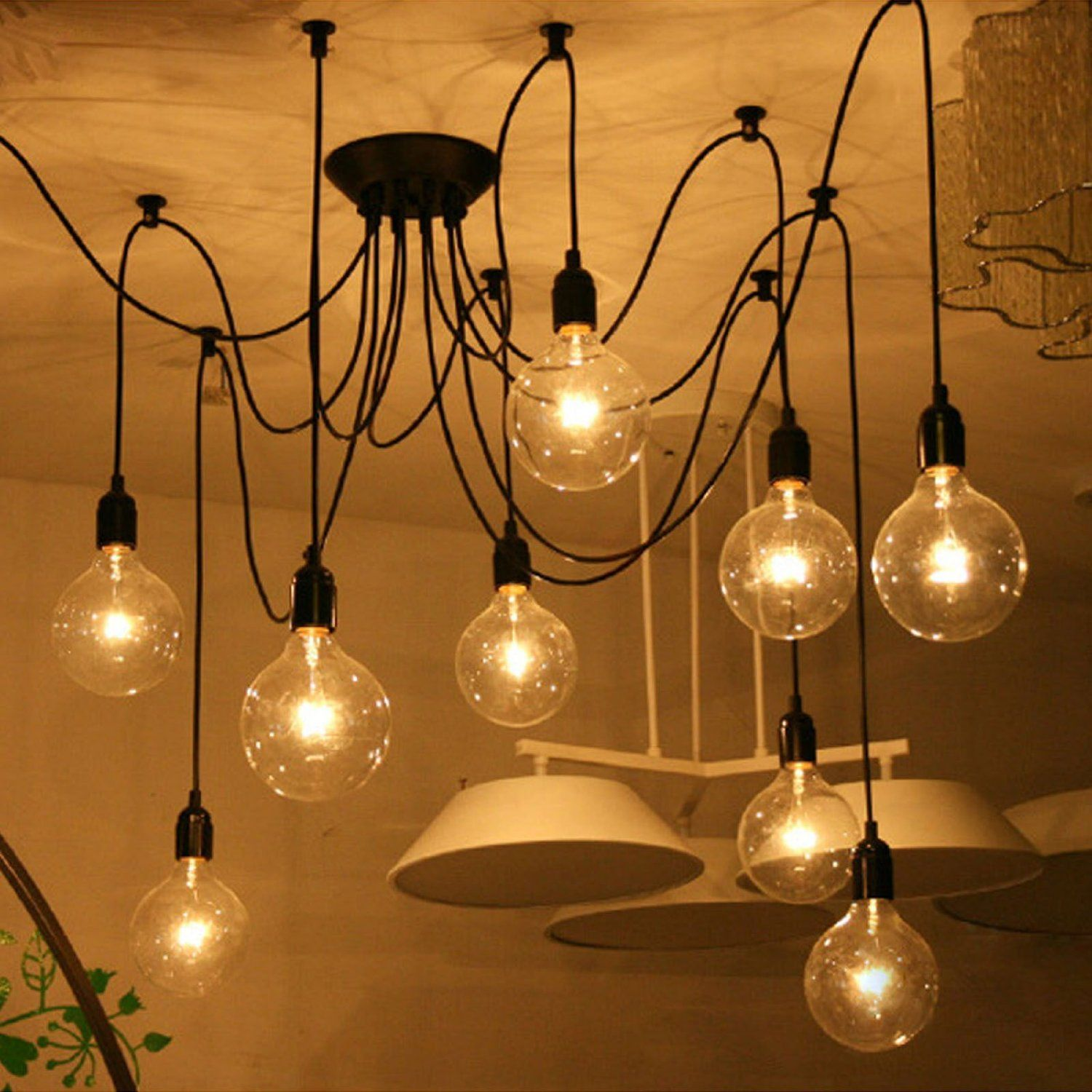 amazing chic industrial light fixtures. ieGeek  Fuloon 10 Lights Creative Fairy Vintage Edison Lamp Shade Multiple Adjustable DIY Ceiling Spider
