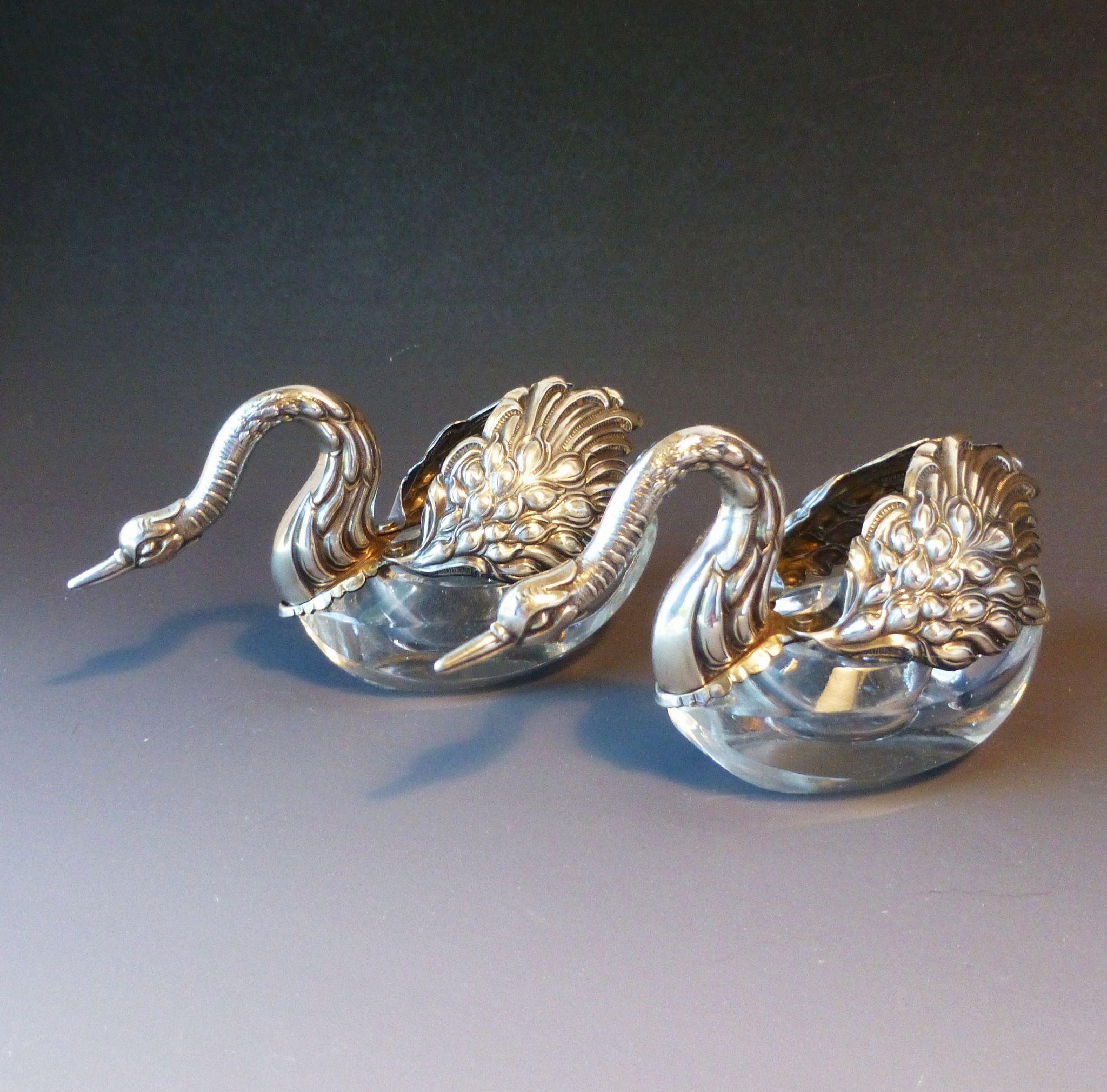 Beautiful vintage salt cellars set of 4 - Vintage Pair Sterling Silver Crystal Glass Swan Double Salt Cellars Striking Swans With Heads