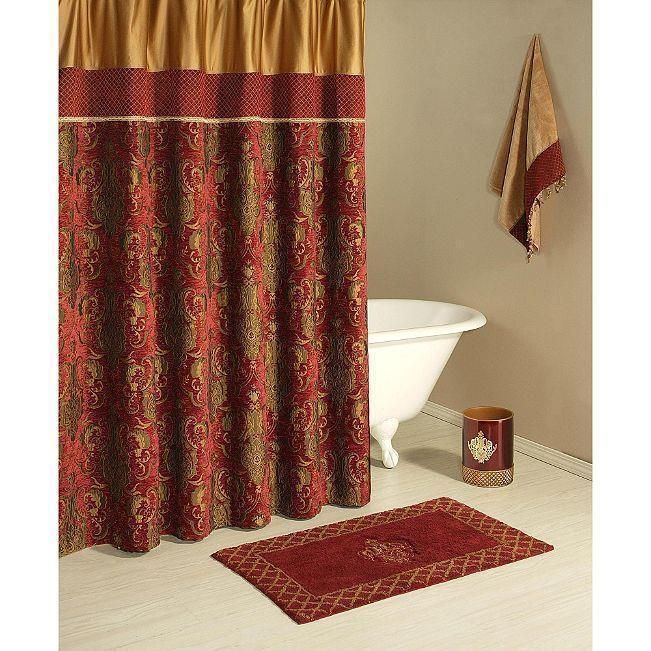 Austin Horn Fabric Shower Curtain Montecito Red Burgundy Gold