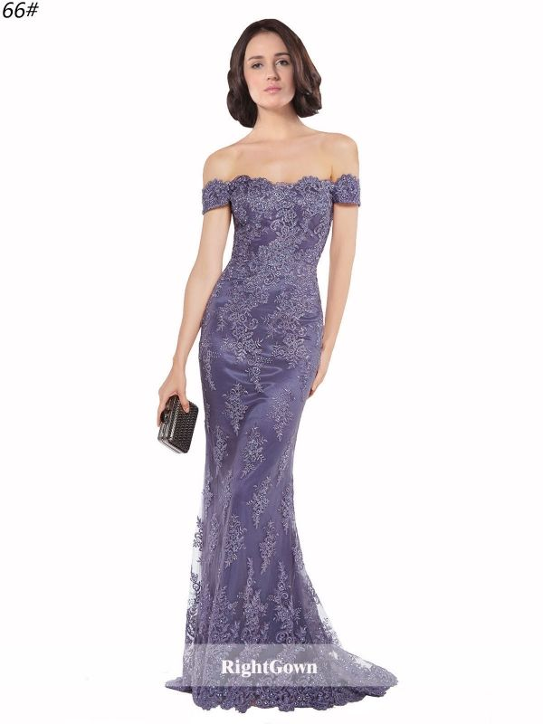 Dreamy Styles Mermaid Off the Shoulder Long Lace Sleeveless Purple ...