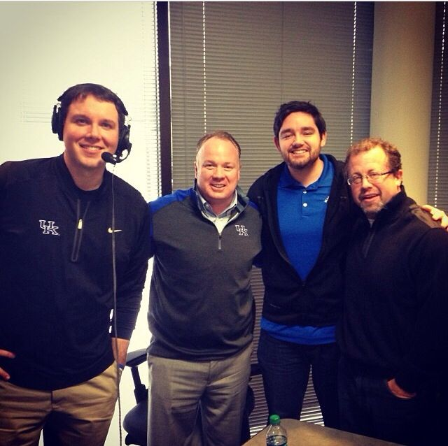 Matt, Ryan, and Drew with Coach Mark Stoops after he brought in the best signing class in UK Football history! Thanks for joining us on-air during the big day!