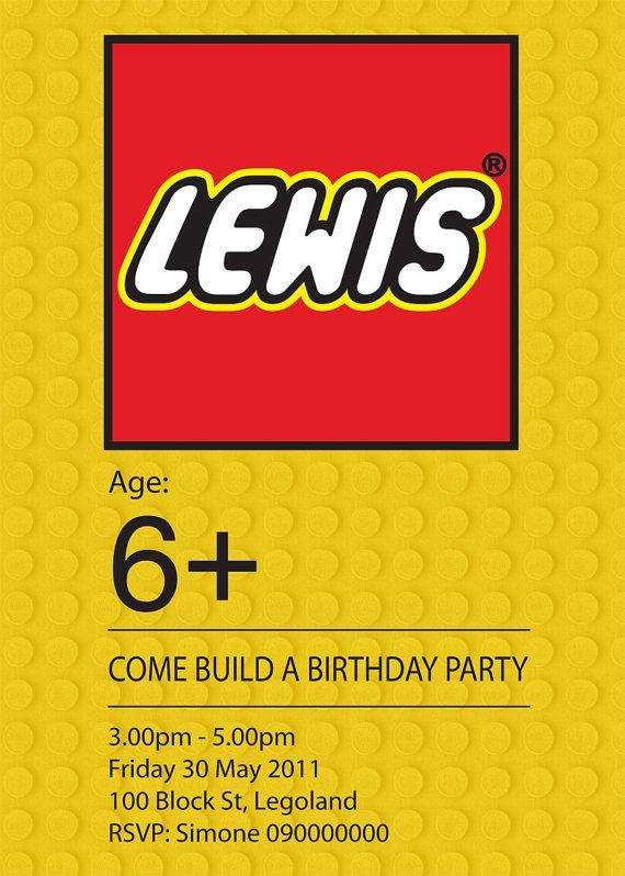 LEGO Birthday Invitations Printable Lego birthday party invite