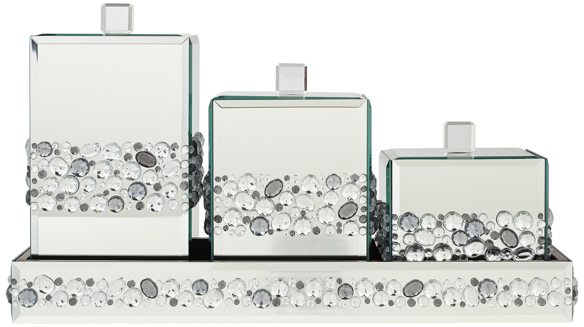 Jeweled Mirror Canisters 4 Piece Bathroom Accessory Set
