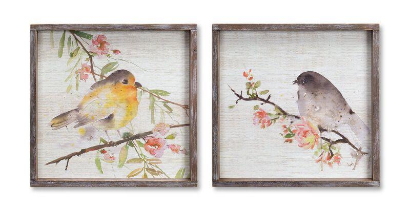 Bird Framed Plaque Set Of 2 In 2020 Decor Rustic Country Bird Prints