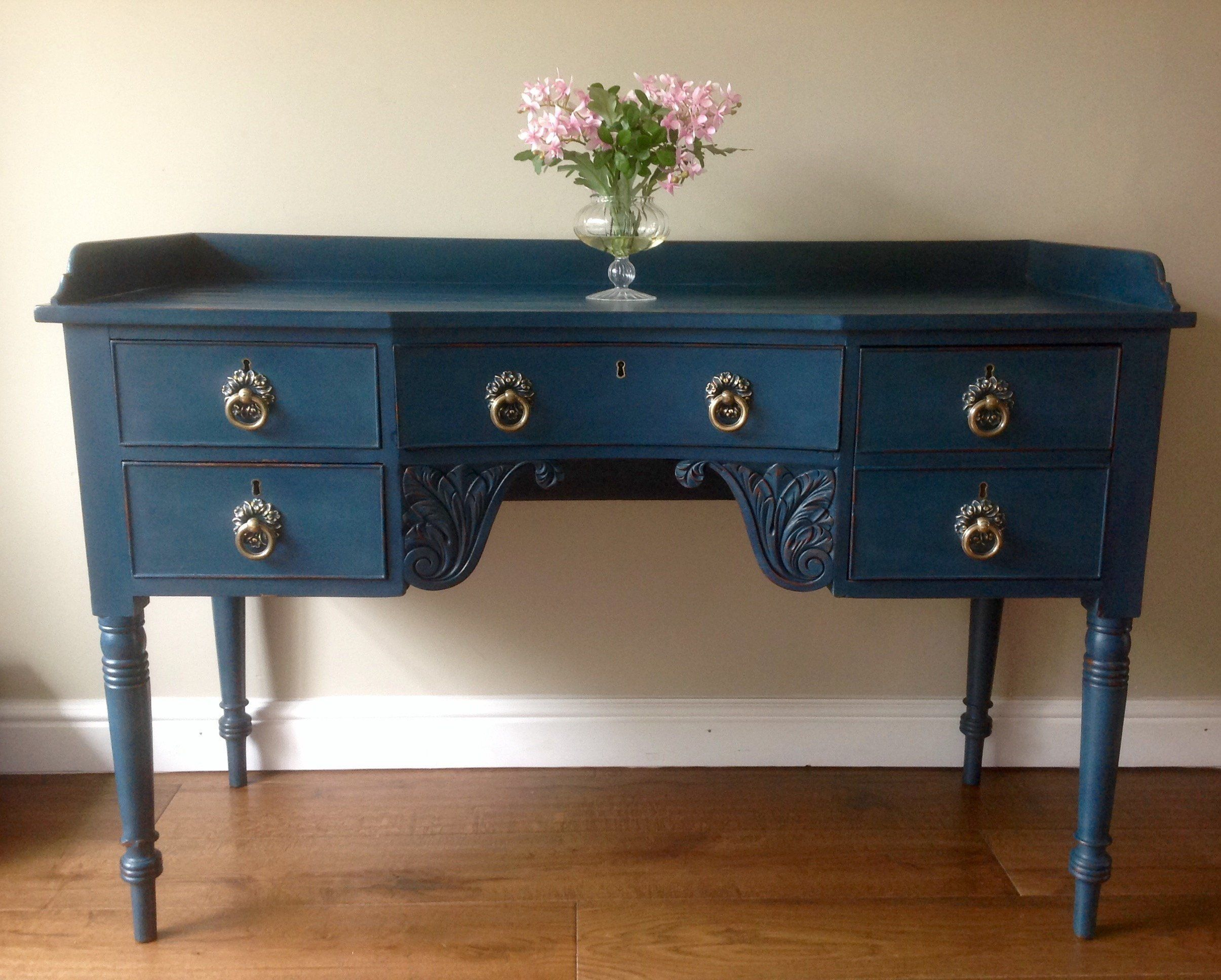Antique Victorian Hand Painted Blue Writing Desk Sideboard Server