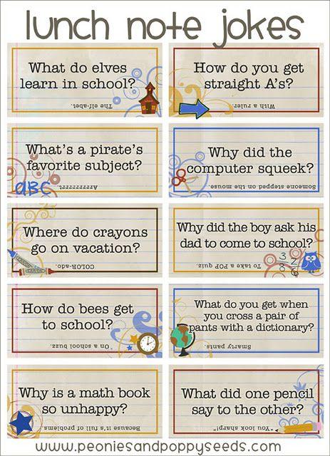 Fun printable lunch box jokes...brilliant idea!