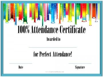 Exceptional Certificates That Can Be Awarded To Students For Perfect Attendance. All  Award Certificates Can Be Customized And Printed For Free! With Free Perfect Attendance Certificate Template