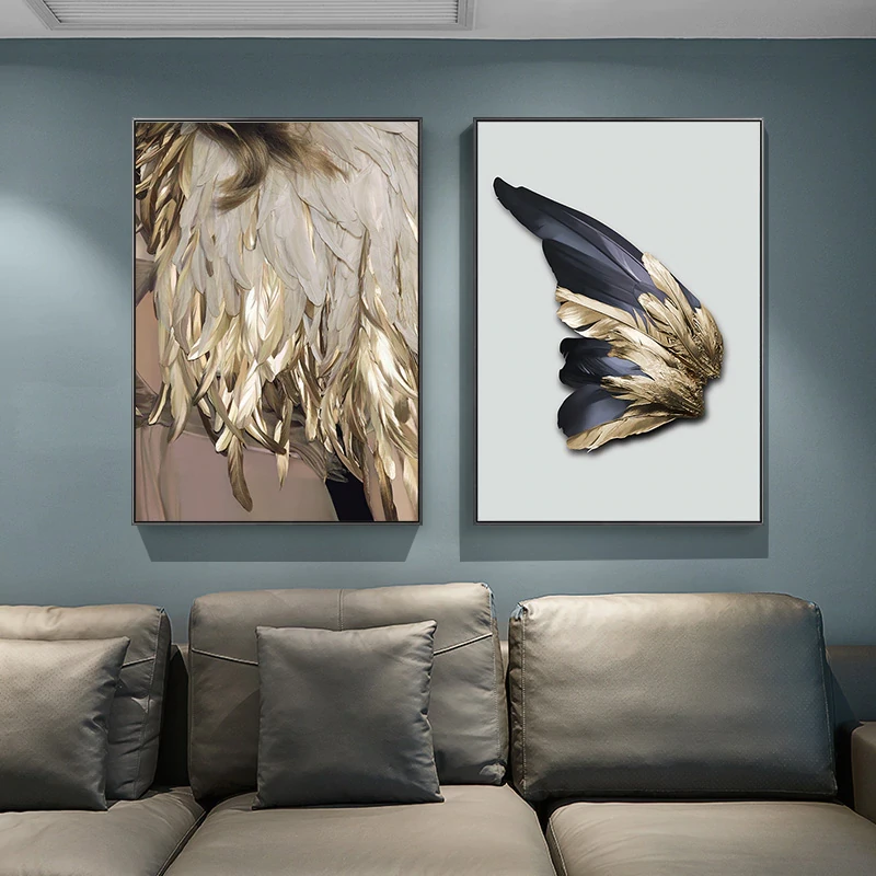 Luxury Golden Feathers Wall Art Fine Art Canvas Prints Glam Home Decor Feather Wall Art Wall Art Pictures Modern Art Abstract