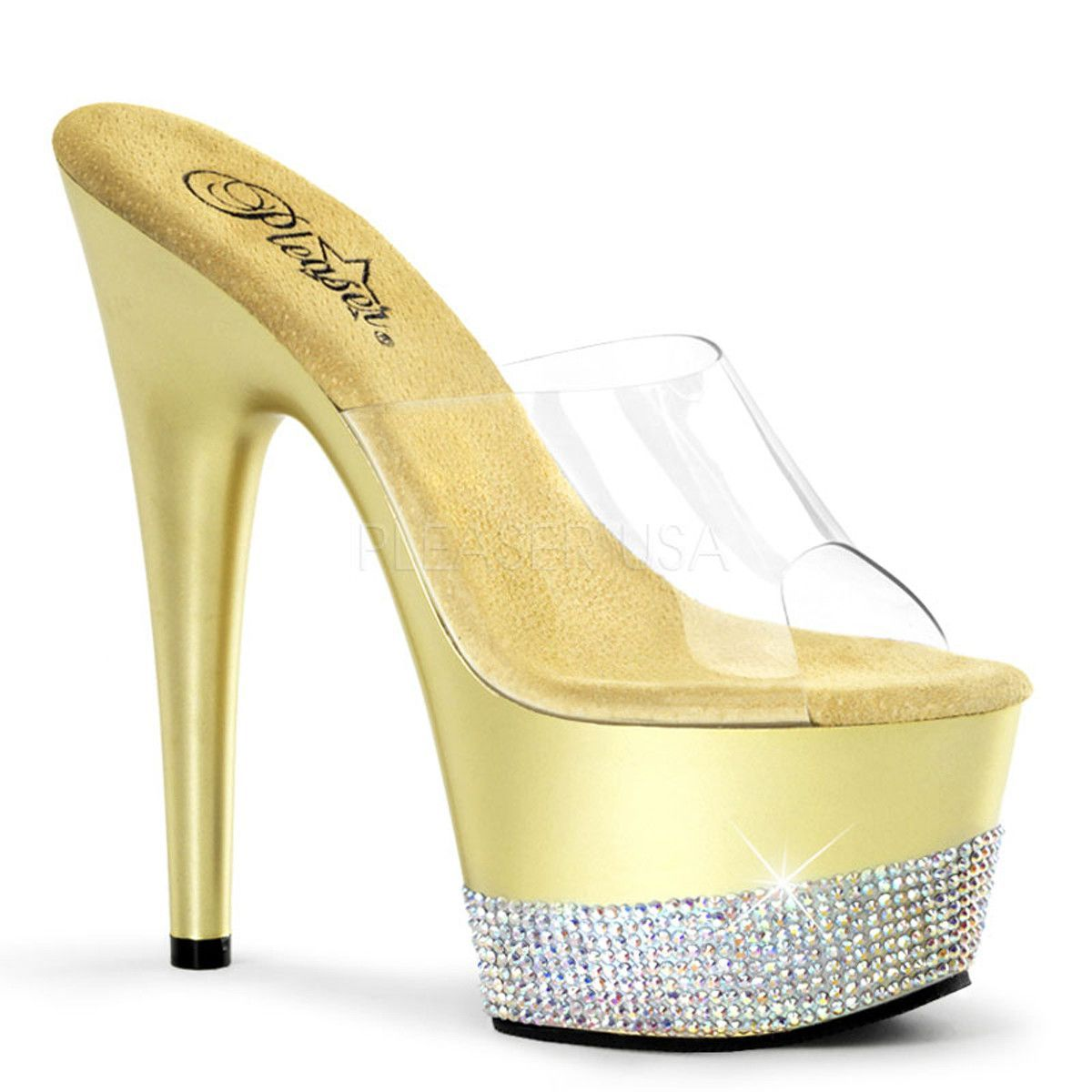 Pleaser Bejeweled-701lp Clr/gold-Blk Size Uk 2 Eu 35 aL0igHL