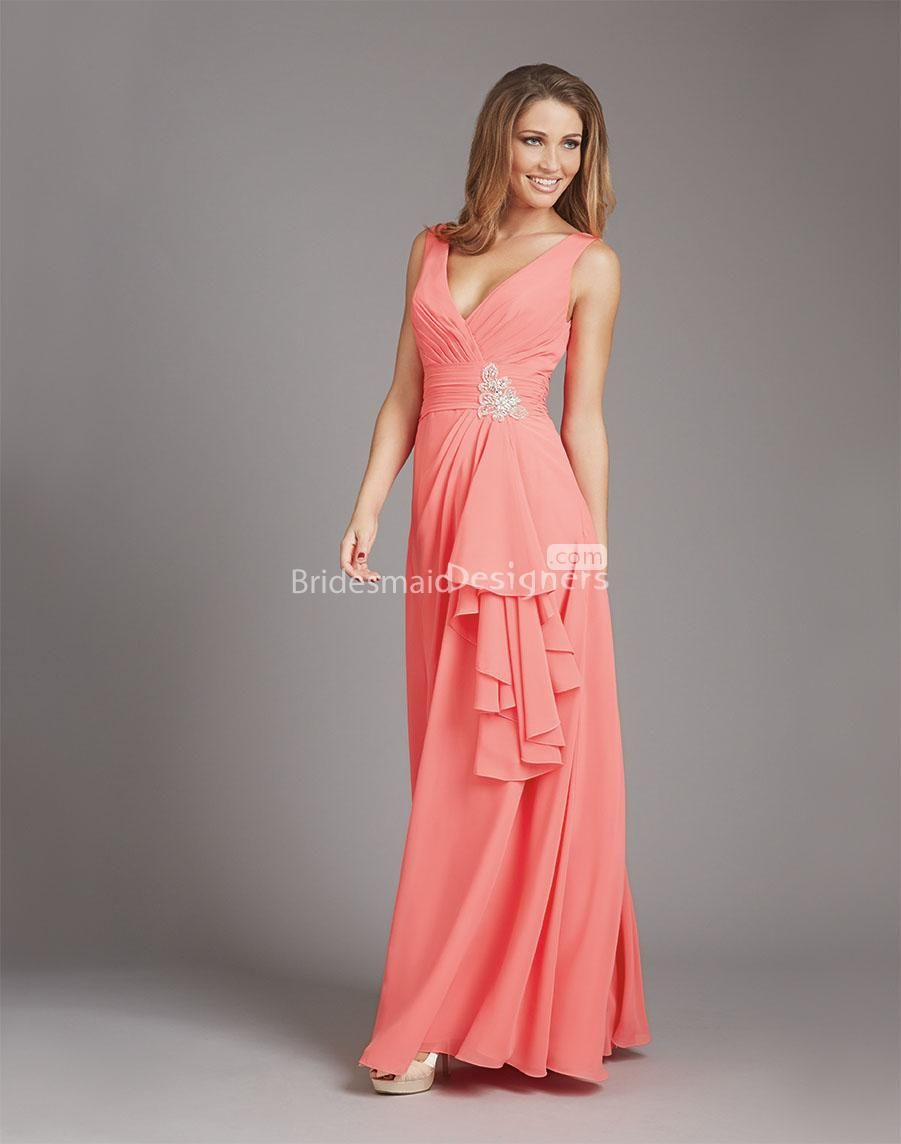 deep v neck back ruffled salmon chiffon long #bridesmaid #dress US ...